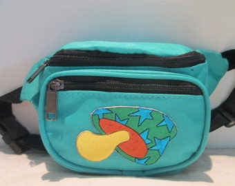 Turquoise Fanny Pack with boho Retro PEACE & LOVE 70's Applique