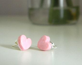 Polymer Clay Light Pink Heart Earrings