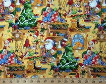 Santa Claus Fabric By the Yard , Half Yard North Pole Elf Toy Elves Workshop Christmas Xmas 100% Cotton Quilting Apparel Fabric BTY t/s-11r