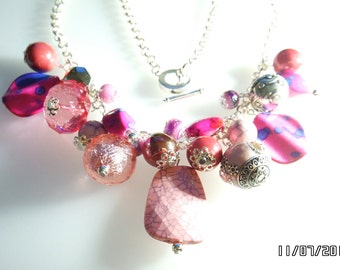 Valentines Hot Pink Silver Plated Cluster Charm Necklace