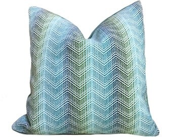 "Eileen Boyd Designer Ombre Chevron Zig Zag Aqua Blue Chenille Velvet Pillow Cover, Fits 12x20 12x24 14x20 16x26 16"" 18"" 20"" 22"" 24"" Cushions"