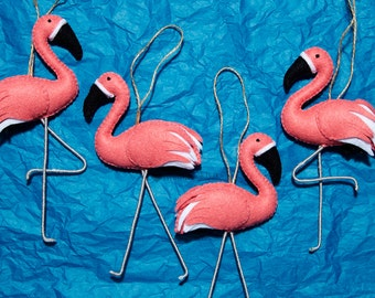 Handmade Pink Flamingo Felt Christmas Ornament