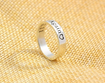 3mm Sterling Band, Engrave Words Ring, Custom Name Stamp Ring, Personalized Silver Ring, Memory Jewelry, Valentine's Gift, Bridesmaid Gift