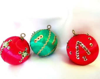 3 Vintage Sequined Red and Green Satin Christmas Ornaments, Set of 2