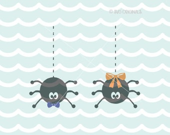 Spiders SVG Cute Halloween Spiders File. Cricut Explore & more. Cut or Printable. Spiders Girl Boy Bow Halloween Spider Art SVG