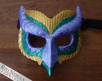 Mardi Gras Owl Mask, Metallic Purple, Green, and Gold, Owl Face Mask, Carnival Mask, Mardi Gras Mask, Colorful Bird Mask, Resin Owl Masque