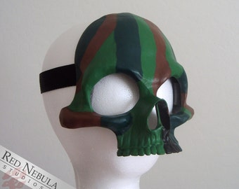 Camouflage Half Skull Mask, Brown and Green Camo Skull, Half Skull Masque, Camo Paint Skull Face Mask, Camo Stripe Facepaint, Camo Colors