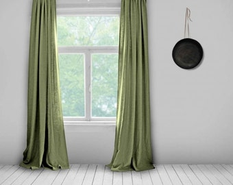 Bespoke Curtains- Olive Green- Lined- Made to Measure Curtains- Bespoke Curtains- Linen Curtains- Plain Green Curtains- Green Curtains
