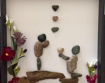 Framed pebble art.  Take my heart.