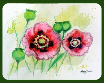 """Original Water Color Painting, Red Poppy Flowers, 8""""x10"""",1608146"""