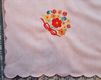 Pink Vintage Tablecloth With Embroidered Floral Design