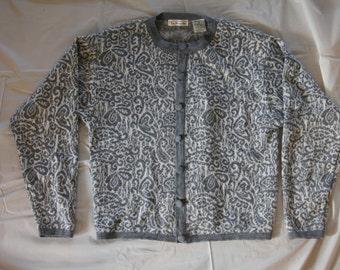 Vintage 1980's - Talbots Grey cardigan Small - 55/45 acrylic wool
