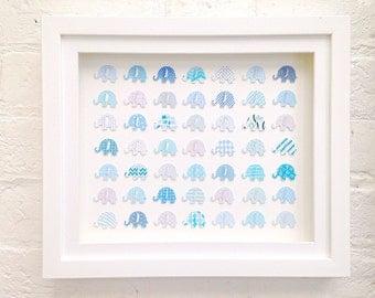 Framed Art ~ Blue Elephant ~ 3D wall art decoration for nursery playroom. Unique gift idea for new mum, baby shower. Baby boy first birthday