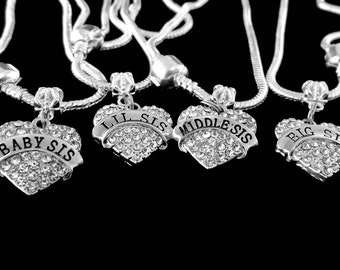 4 sisters charm set Baby sis Lil sis Middle sis  Big sis bracelet charms only that fil most all bracelets and necklaces