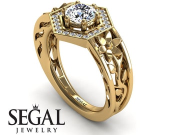 Vintage Engagement Ring Yellow Gold Branch Ring Antique Engagement Ring Moissanite Ring Nature Ring Vintage Engagement Ring - Paisley