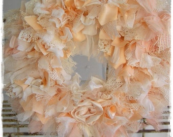 PEACHES & CREAM Rag Wreath - Tattered Textiles, Raggedy Shabby Chic Decor, Gypsy Cloth Wallhanging, Cottage Chic  [RW10-8]