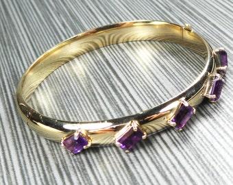 Amethyst Bracelet Vintage Amethyst Bangle Hinged Bangle Bracelet Vintage Gold Bangle 14k Yellow Gold Purple Stone February Birthstone