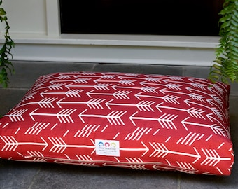 Arrows Dog Bed || Designer Fabric in Red || Large Custom Dog Bed Pillow Cover Personalize with Pets Name || Dog Gift by Three Spoiled Dogs