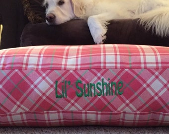 Pink Plaid Dog Bed || Medium Large Personalized Pillow || Custom Puppy Gift by Three Spoiled Dogs