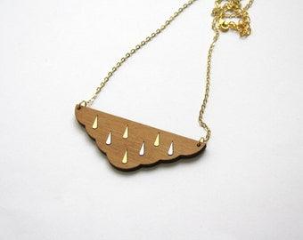 Cloud long necklace in wood, rain drop pattern, silver gold color, fairy geometric jewel, brass chain, minimal modern style, wooden collar