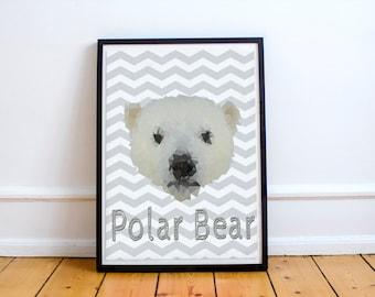 Nursery Arctic Polar Bear Printable 8 x 10 - 300 DPI - Instant Download