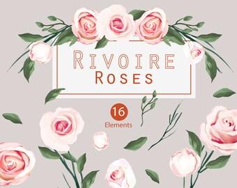 Watercolour Floral Art Collection - Hand Painted Clip Art - Rivoire Roses(Elements)