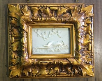 Rare Antique Nude In Marble Alabaster Bas Relief Picture In Cast Gilded Frame