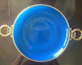 bronze doré BLUE OPALINE DISH