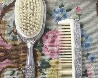 Vintage silver plated brush & comb dresser set. Made japan