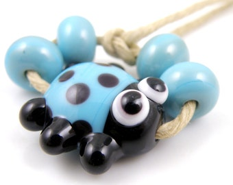 Turquoise and Black Ladybug Mini Focal with Spacers Made to Order SRA Lampwork Handmade Artisan Glass Beads Set of 5