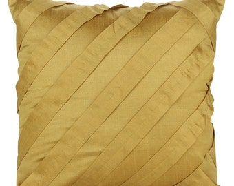 Solid Yellow Ochre Pillow Cover Pleated Textured Solid Yellow Ochre Euro Sham Throw 14x14 16x16 18x18 20x20 22x22 24x24 26x26