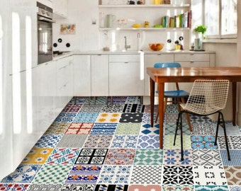 Tile Stickers - Tiles for Kitchen/Bathroom Back splash - Floor decals -Patchwork Mix Eclectic 60 Tile Sticker Pack