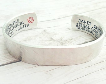 Medical ID Bracelet - Medical Alert Bangle - Medical ID - Medical Alert Jewelry -Diabetic- Epilepsy - Allergy Bracelet - Cute ID bracelet