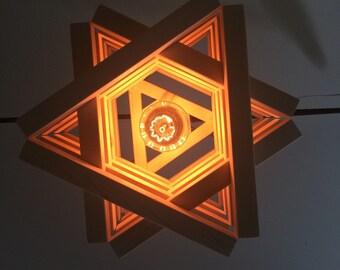 Wooden Ceiling Light Pendant Chandelier Wood Pendant Light Star Shape Art Abstract Raw Bare Wood Unusual Unique