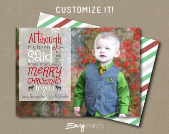 Christmas Photo Card Holiday Photo Card Christmas Card Printable or Printed