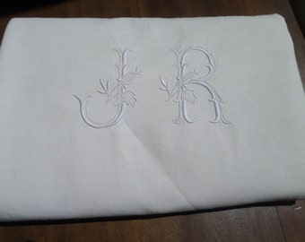 No9 Perfect! Antique Vintage French Metis Linen Sheet, monogram JR. King Size