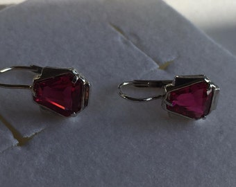 FINAL MARKDOWN Stunning Art Deco Silver Ruby Glass Sleepers Leverback Earrings.