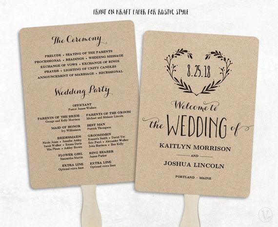 printable wedding program template wedding fan by vinewedding