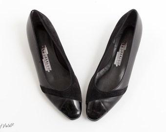 Black Flats   Leather, Patent, and Suede   Size 7.5   1980s Vintage Shoes   Naturalizer   Women's Black Shoes