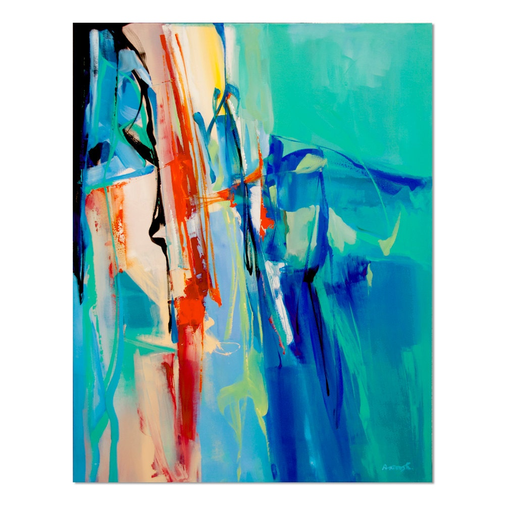 painting blue orange green abstract painting modern. Black Bedroom Furniture Sets. Home Design Ideas