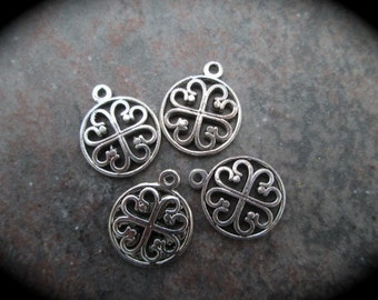 Small Clover Heart charms Silver Finish perfect for adjustable bangle bracelets Irish Charms Package of 4 charms