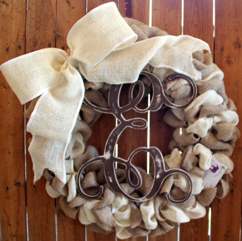 monogram burlap wreath, bulap and ivory wreath, distressed monogram wreath, year round wreath