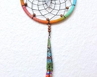 Joplin Dreamcatcher/Miniature/Wall Hanging/Ornament/Boho/Hippie/Eclectic/Rainbow/Crystal Quartz/Gift