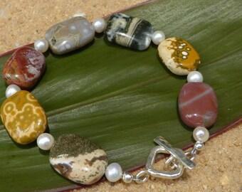 Ocean Jasper Bracelet Pearl Bracelet Hill Tribe Silver Gemstone Jewellery Multi Colour Natural Stone Artisan Boho Sterling Silver