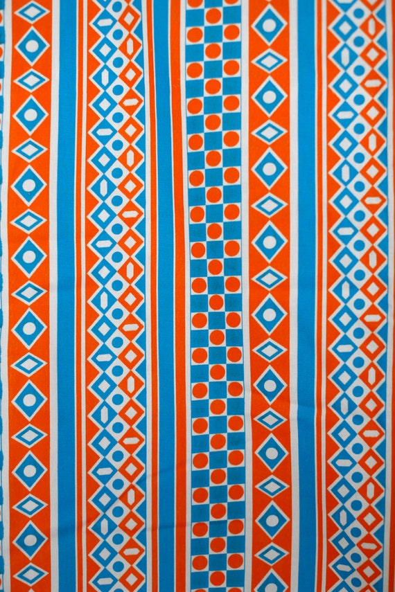 orange and blue funky geometric pattern cotton fabric 60 39 s. Black Bedroom Furniture Sets. Home Design Ideas