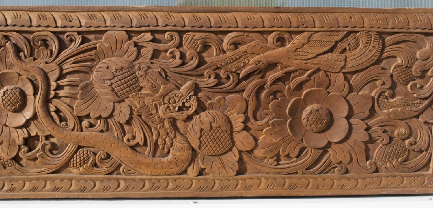 Balinese two teak wood wall décor panels with floral and bird
