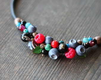Handmade Berry necklace - Polymer clay - Blueberry and raspberry necklace