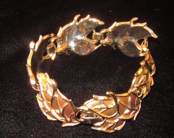Vintage Enameled Leaf Design Bracelet - Gold tone