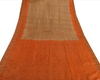 KK Pure Silk Saree Saffron Woven Sari Craft Fabric 5 Yard