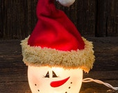 Frosted Lit Snowman Head